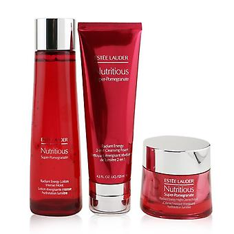 Estee Lauder Nutritious Super-Pomegranate Overnight Radiance Collection: Cleansing Foam 125ml+Lotion Intense Moist 200ml+Night Creme 50ml 3pcs