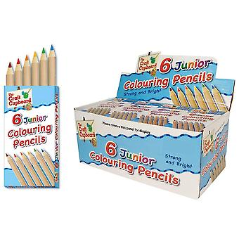 Pack of 6 Half Length Assorted Colouring Pencils for Party Bag Fillers