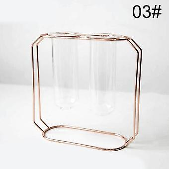 Nordic Golden Glass Vase - Iron Hydroponic Plant Tabletop Flower Vase