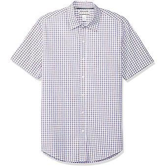 Essentials Men's Slim-Fit kortærmet casual poplinskjort, rød/blå P...