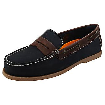 Sterling & Hunt Salvadore Mens Boat Shoes in Navy Brown