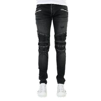 Balmain Ribbed Slim Jeans-Destroy Black UH15419Z0360PA Pants