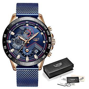 Lige Quartz Watch - Anologue Luxury Movement for Men - Stainless Steel - Blue-Black