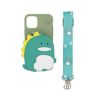 3D mobile Hülle mit eingebauter Brieftasche für iPhone 11 Pro - Dinosaurier, grün