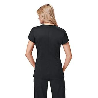 KOI Women's Stretch Mackenzie Figure-Flattering Zip-Front Scrub Top, Black, S...