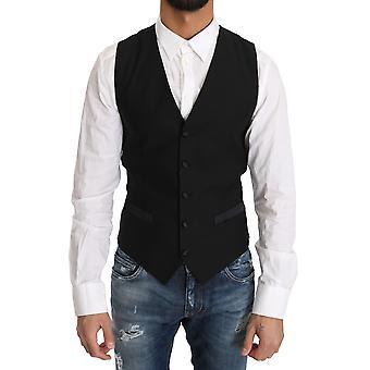 دولتشي وغابانا الصوف الأسود اللباس صدرية جيليت - TSH2883440