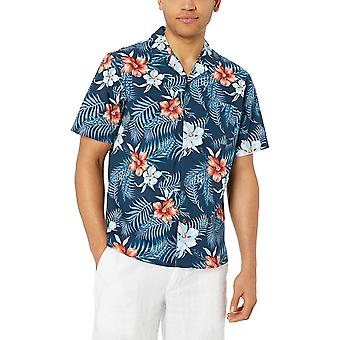 28 Palms Men's Relaxed-Fit 100% Cotton Tropical Hawaiian Shirt, Red/White/Blu...