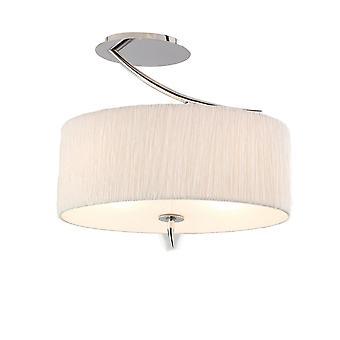 Semi Flush Plafond 2 Licht E27, Gepolijst Chroom met Witte Ovale Tint