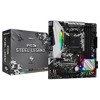 アスロックB450Mスチールレジェンド、AMD B450、AM4、マイクロATX、4 DDR4、HDMI、DP、XFire、ロックソリッド耐久性