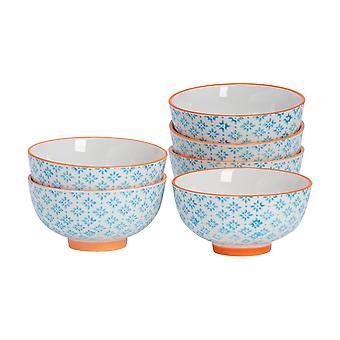 6 peças de tigela de arroz impressa à mão - Estilo japonês porcelana café da manhã sobremesa de cereal servindo tigelas - Azul - 12cm