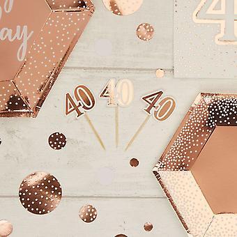 Rose Gold 40 års fødselsdag Cupcake Food Picks x 10