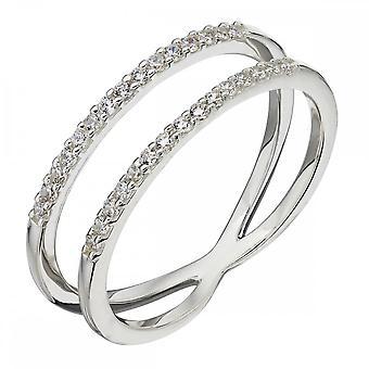 Elements hopea hopea levy valkoinen CZ kaksinkertainen bändi Ring R3681C