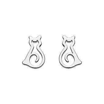 Dew Sterling Silver Dinky Pussy Cat Stud Earrings 4046HP014