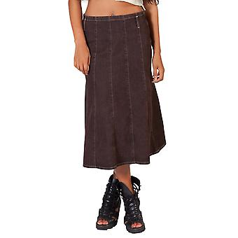 Calf-length brown denim panelled skirt