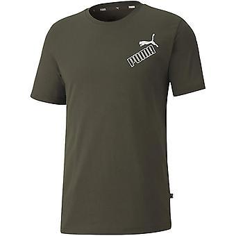 Puma Amplified Mens Sport Fashion Katoen korte mouwen T-shirt Tee Khaki