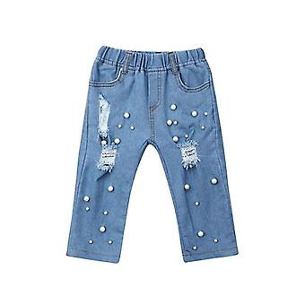 Kid Summer Casual Jeans Shredded Hole Denim Pants- Elastic Trousers, Baby Jean
