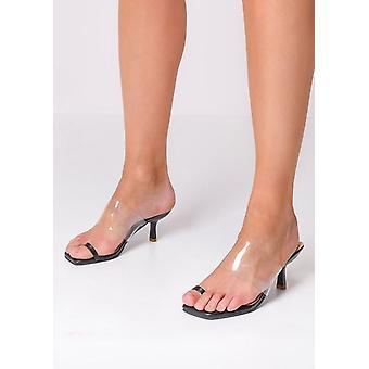 Vierkante Toe Perspex Heeled Mule Sandalen Zwart