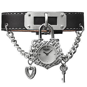 Rebel Women's RB114-4071 Seagate Black Leather Wristwatch