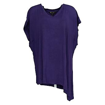 DG2 por Diane Gilman Women's Plus Top Assimétrico Hem V-Neck Roxo 710-366