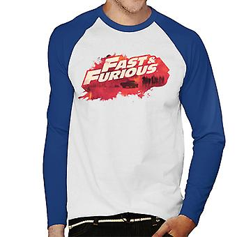 Fast and Furious Logo Character Backdrop Men's Baseball Long Sleeved T-Shirt