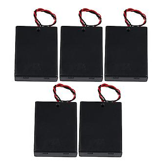 5pcs AAA Plastic Battery Case Holders with Wire Leads & Cover 4-Slot