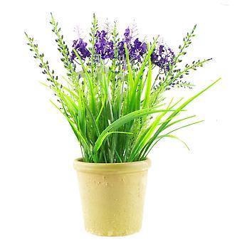 Planta de hierba de lavanda artificial de 30 cm con plantador de gres