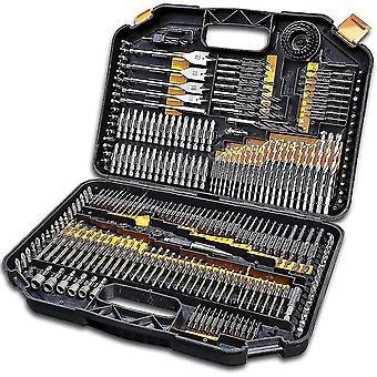 Terratek 246pc Drill Bit Set, HSS Titanium Twist, Masonry, Wood Bits & case
