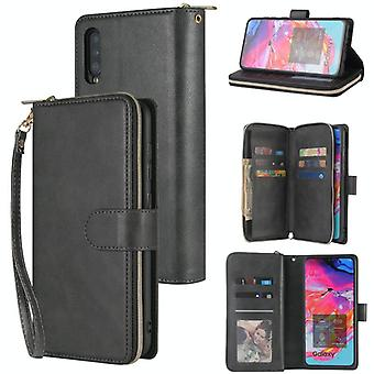 For Samsung Galaxy A70 Zipper Wallet Bag Horizontal Flip PU Leather Case with Holder & 9 Card Slots & Wallet & Lanyard & Photo Frame(Black)