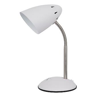 Lampe de table moderne Blanche, Satin Nickel 1 Light with White Shade, E27