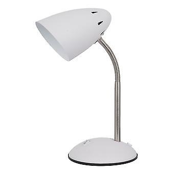 Moderne Tischleuchte weiß, Satin Nickel 1 Licht mit weißem Farbton, E27
