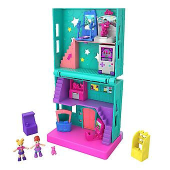 Polly pocket pollyville arcade with 4 floors, 2 dolls & 5 accessories recreation room