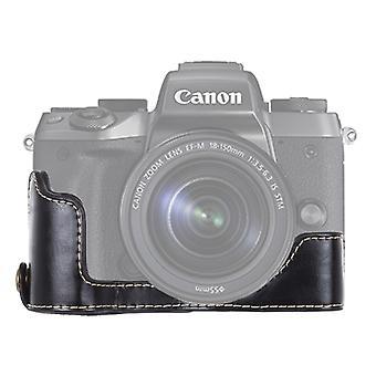 1/4 بوصة مؤشر ترابط PU الجلود كاميرا نصف قاعدة حالة كانون EOS M5 (أسود)