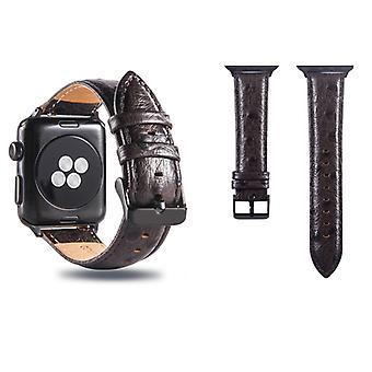 Struts hud tekstur ekte lær armbåndsur band for Apple Watch Series 3 & 2 & 1 42mm (Kaffe)