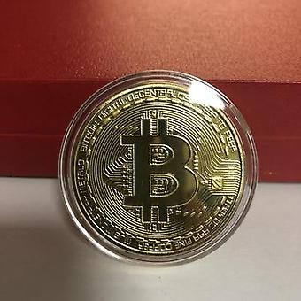 Gold Plated Bitcoin Coin Collectible Art Collection Physical Commemorative Btc