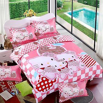 Lovely Cartoon Duvet Cover Sets, Soft Polyester, Bed Linen Flat, Bedsheet Set