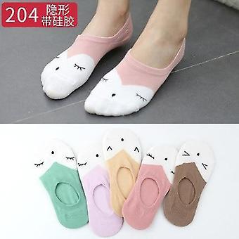 Arrival Women Socks Fruits Cute Happy Silicone Slip Invisible Cotton Printed