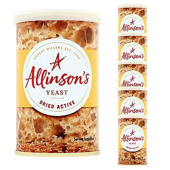 6 x 125g Allison's Torkad aktiv jäst bakning bröd rullar glutenfri vegan