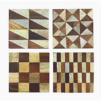Set/4 Assorted Wood Inlay Coasters
