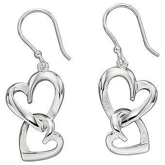 Elementos plata estratificada corazón gota pendientes - plata