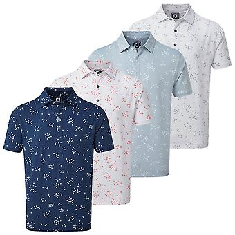Footjoy Mens Lisle Fob Print Moisture Wicking Golf Polo Shirt