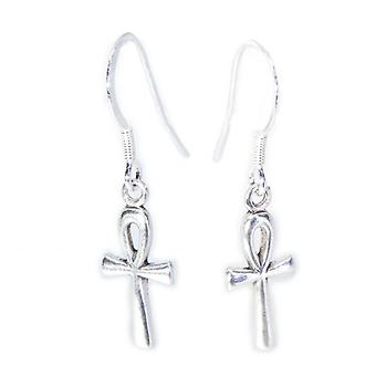 Ankh Cross Sterling Silver Earrings .925 X 1 Pair Drops Ankhs - 8277