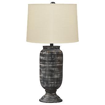 Lámpara de mesa de sombra de tambor con base de metal de urna, crema y negro