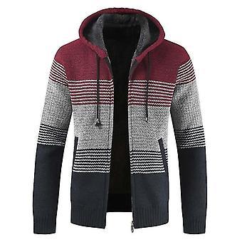 Erkek's Kazak Ceket, Kalın Sıcak Kapüşonlu Şerit, Yün Hırka Jumper, Fermuar