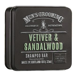 Scottish Fine Soaps Vetiver & Sandalwood Shampoo Bar in a Tin 100g