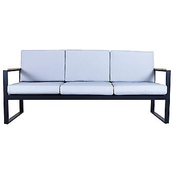 Charles Bentley Polywood and Extrusion Aluminium Large 3 Seater Sofa Seating Garden Grey Black Industrial Modern