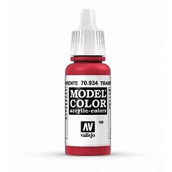 Vallejo Model Color 17ml Acrylic Paint - 934 Transparent Red