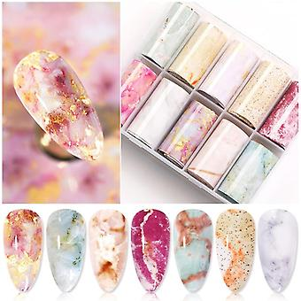 Box Marble Design, Foils Nail Set, Transfer Sticker Kit, Flower Adehesive Paper