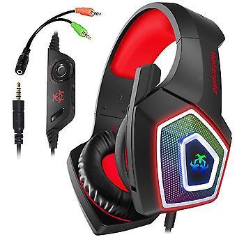 Spelheadset för Xbox One Gaming Headset med brusreducerande mikrofon, stereoljud, mjuka hörselkåp, LED-ljus för Xbox One / PS4 / PC / Mac / Laptop / Switch-Red