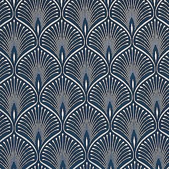 Layla Art Deco Wallpaper Navy Blue GranDeco GV3103