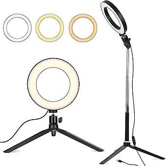 """HanFei 6"""" Dimmbarer LED Ringlicht mit Stativ Stnder, Selfie Livestream Beleuchtung mit Einstellbarem"""